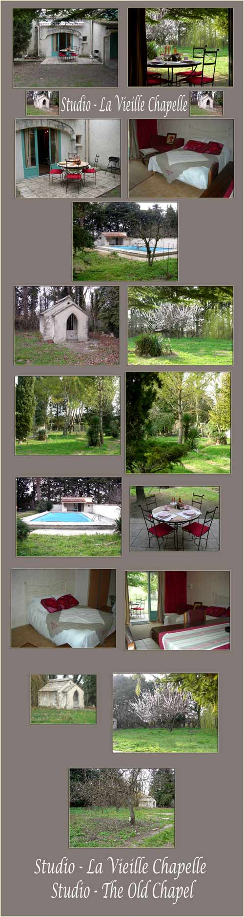 Provence studio with pool, old chapel, horses, bicycles, adjacent tennis, almond trees, plus