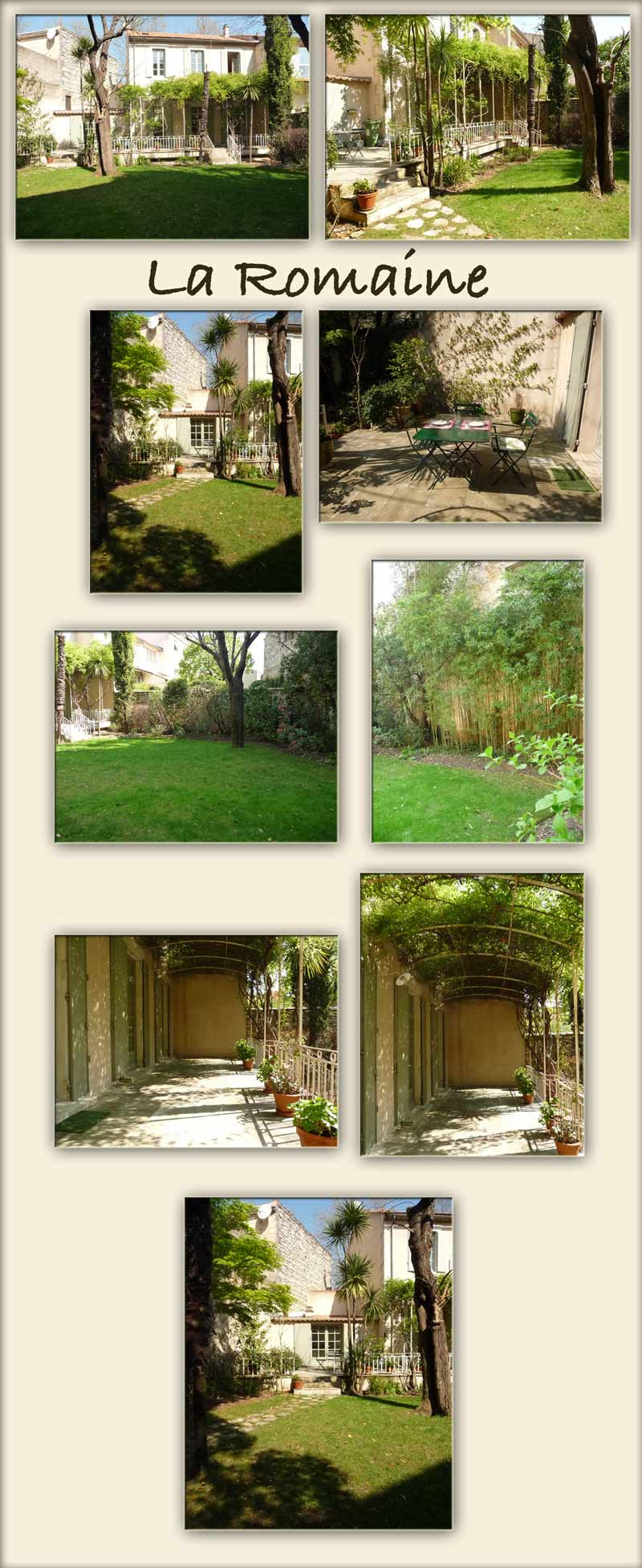 photos of the large garden of La Romaine, a villa Gard, Nimes villa, south France self catering gite - peace and quiet, old trees, shaded terrace